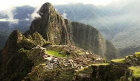 Machu Picchu Inca Lost city in mist