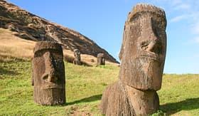 Transpacific Cruises Moai at Rano Raraku quarry on Easter Island