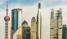 Uniworld River Cruises Pudong skyline in Shanghai, China