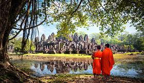 Viking River Cruises Buddhist monks at Ta Prohm Khmer Temple, Angkor Wat