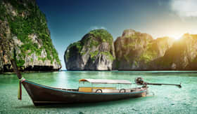 Windstar Cruises boat on sand of Maya Bay Phi Phi island