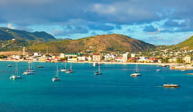 Windstar Cruises scenic view of St. Maarten dutch side in the Caribbean