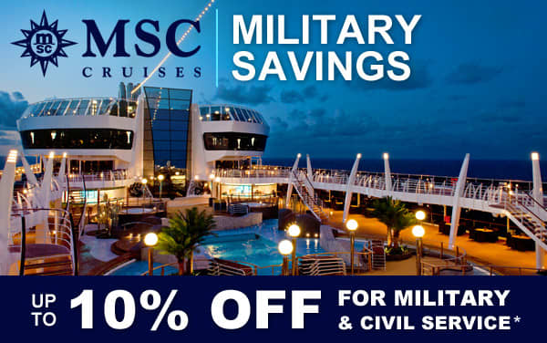 MSC Cruises Military Discount: up to 10% OFF*