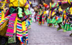 Peruvian dancers at the parade in Cusco Peru