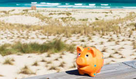 Piggy bank near beach