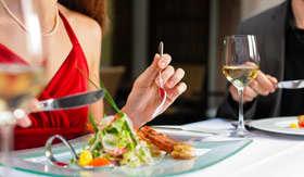 Couple enjoying gourmet dining