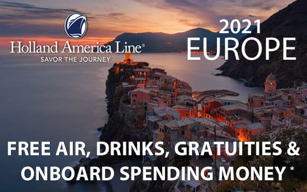 Holland America Europe Sale: FREE Air, Drinks*...