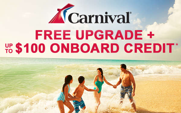 Carnival Sale: FREE Upgrade and up to $100 OBC*