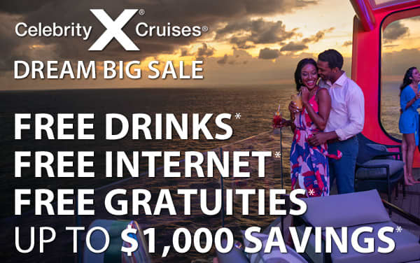 Celebrity Cruises: Free Drinks, Tips and WiFi*
