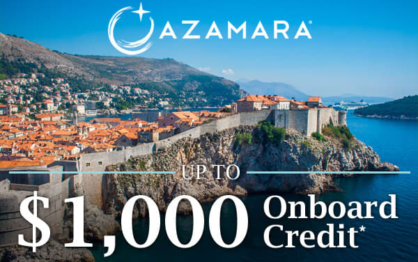 Azamara: up to $1,000 Onboard Credit