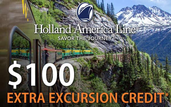 Holland America Alaska Sale: $100 Excursion Credit