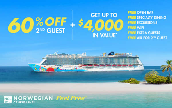 Norwegian: 60% OFF 2nd Guest and Take ALL Perks*