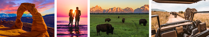 Land Tour Destinations: Arches, West Coast Sunset, Grand Tetons and Africa Safari