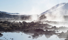 Steaming hot springs in Iceland