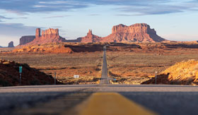 Route 66 through Monument Valley in Utah