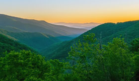 Sunset in the Smoky Mountains in the Southern US
