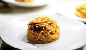 A signature pasa dish, beautifully plated at Onda by Scarpetta