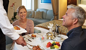 Dinner in room with butler service with Oceania