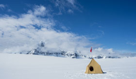 Tent set up for night of glacier camping with Atlas in Antarctica