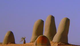 Iconic Punta Del Estes beach sculpture