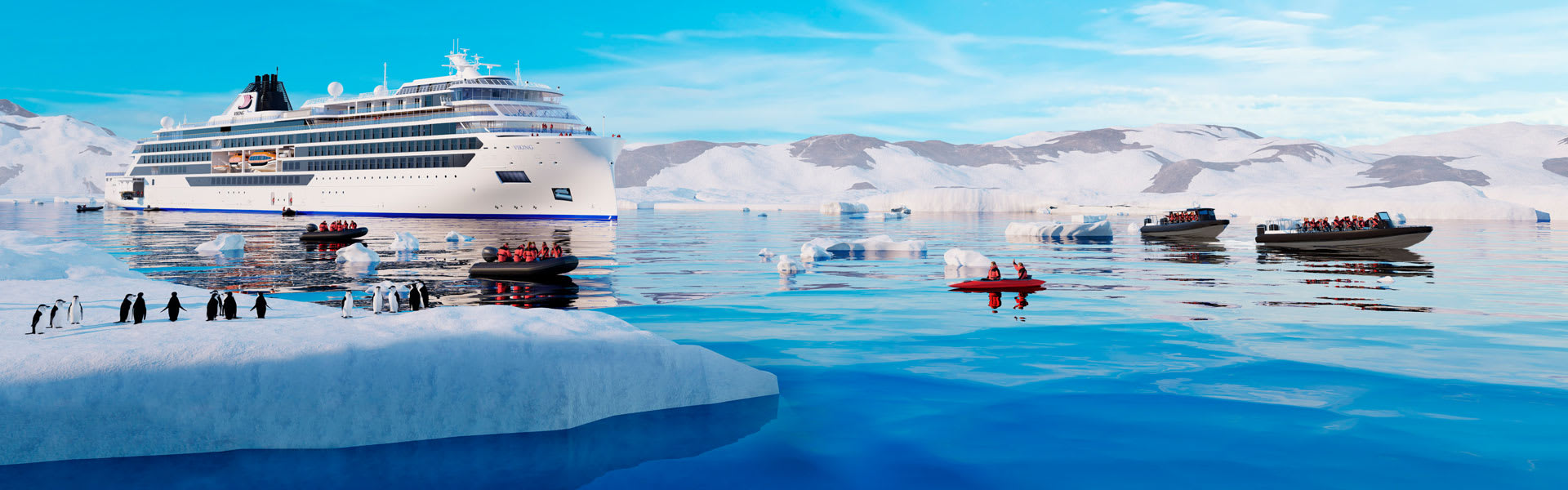 Viking Expeditions Cruise Ship in Antarctica