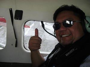 Jaycee flying high above the Alaskan wilderness