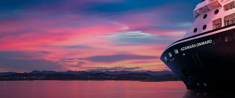 Azamara Onward at sunset