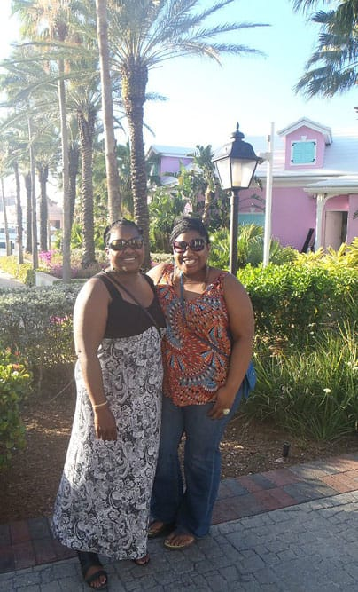 My mom and I enjoying some tropical shopping.