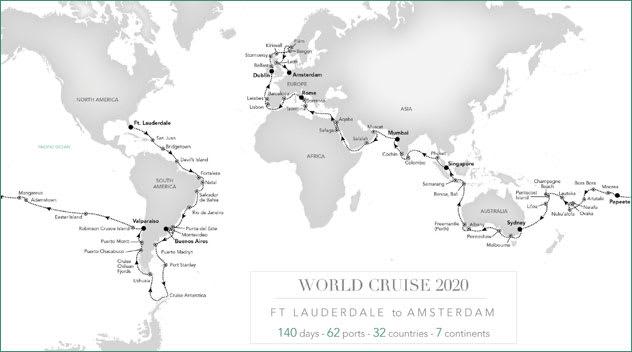 Silversea 2020 World Cruise Map