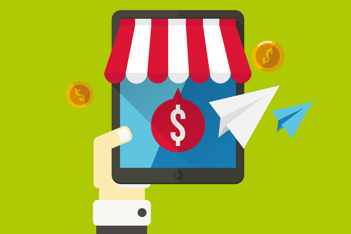 Bild einer Hand und eines e-Commerce Shops als Grafik dargestellt für grünem HIntergrund