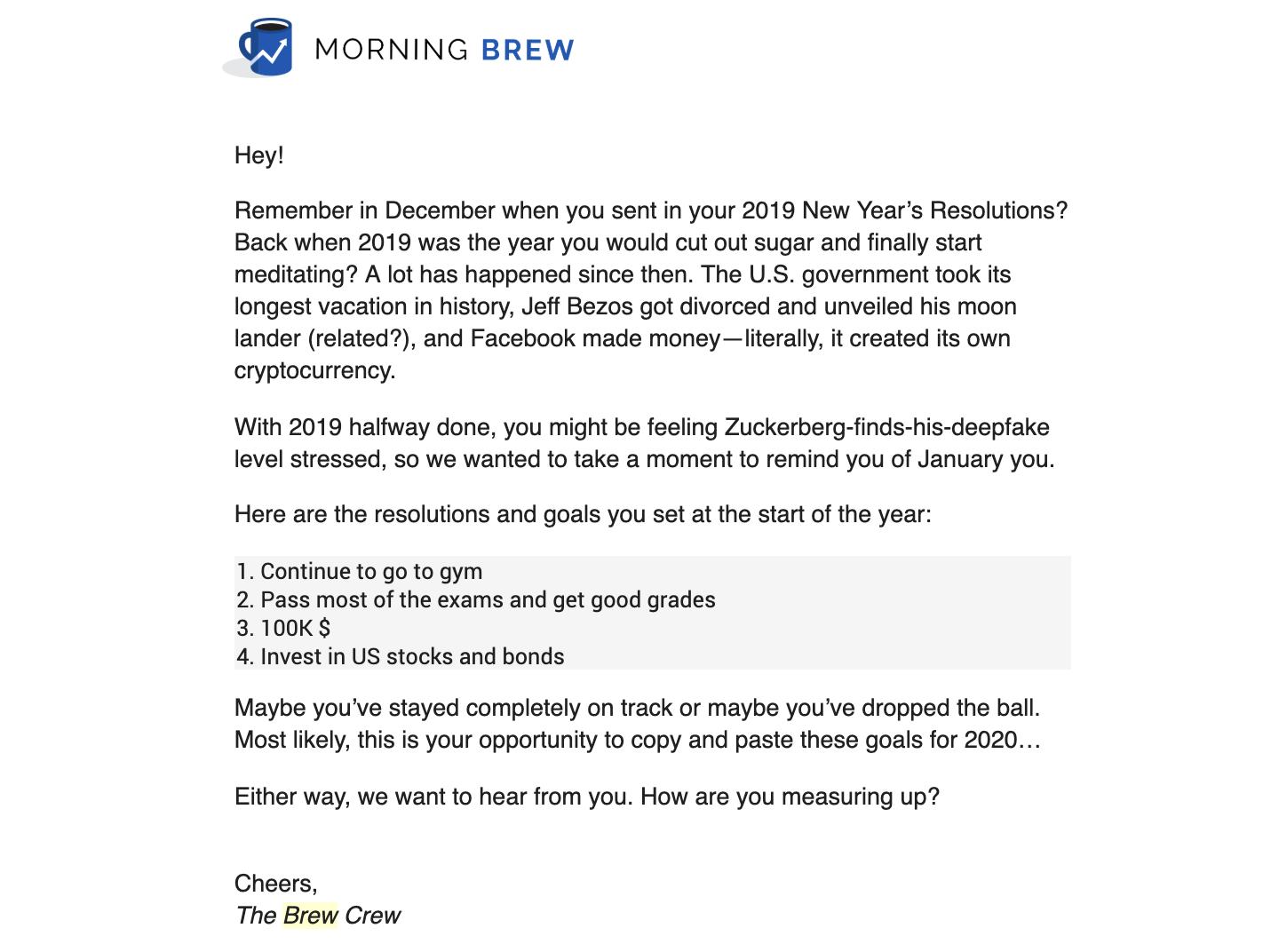 Morning Brew resolutions