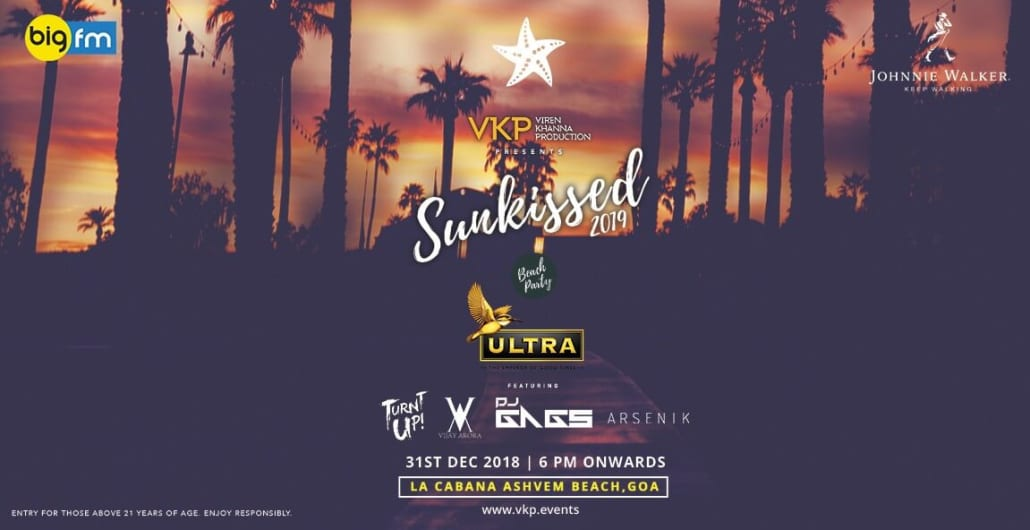 Sunkissed 2019 - NYE Beach Party at  La Cabana, Ashwem, Goa.