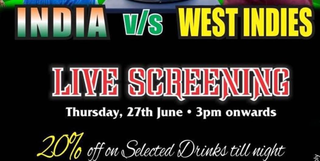 India vs West Indies Live screening