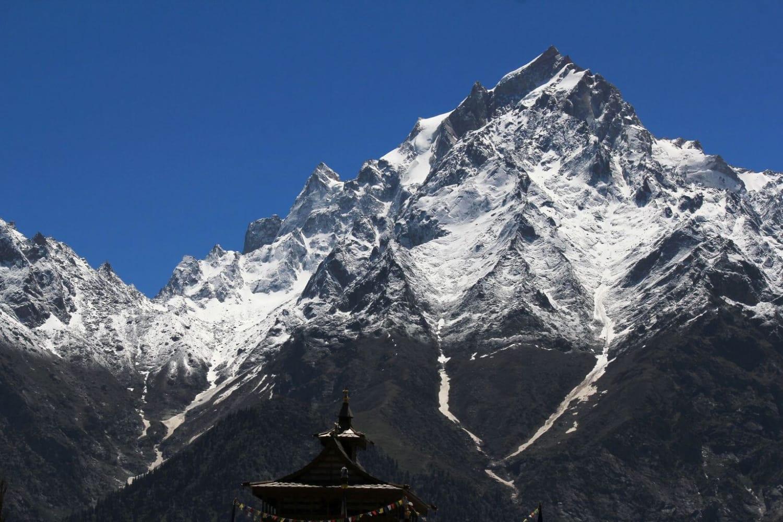 Kinnaur Kailash Shivling and Kinnaur kailash with Top of Kalpa Temple