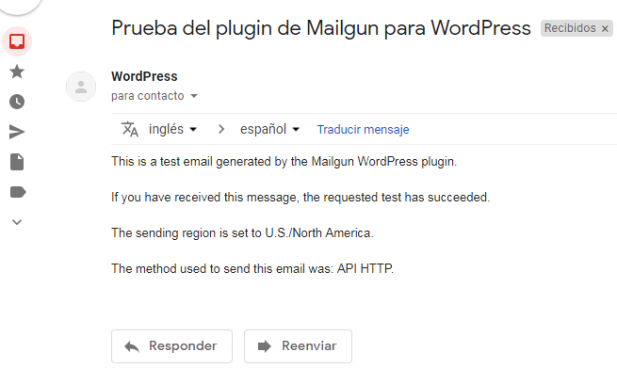 Prueba plugin Mailgun WordPress