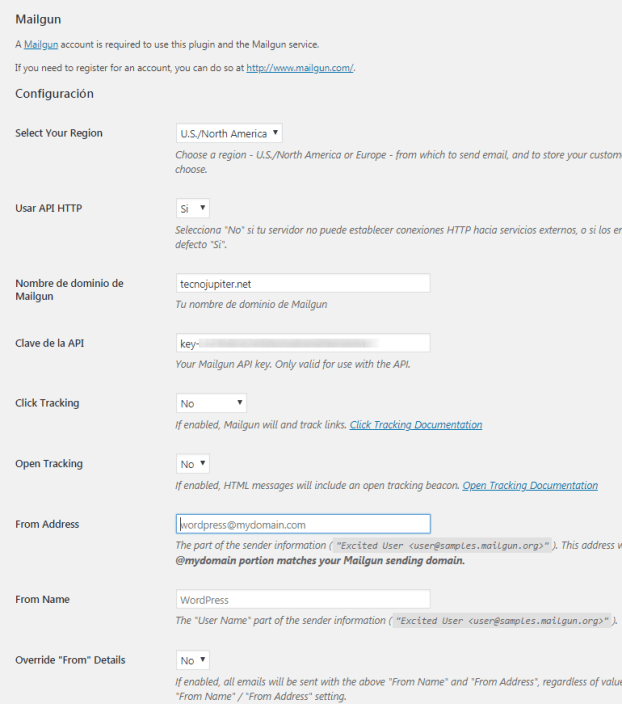 config mailgun plugins wordpress