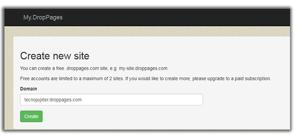 create new site droppages