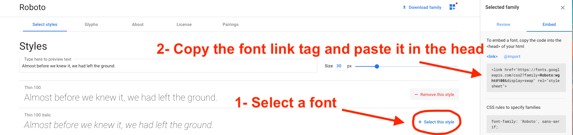 Adding fonts from Google Fonts