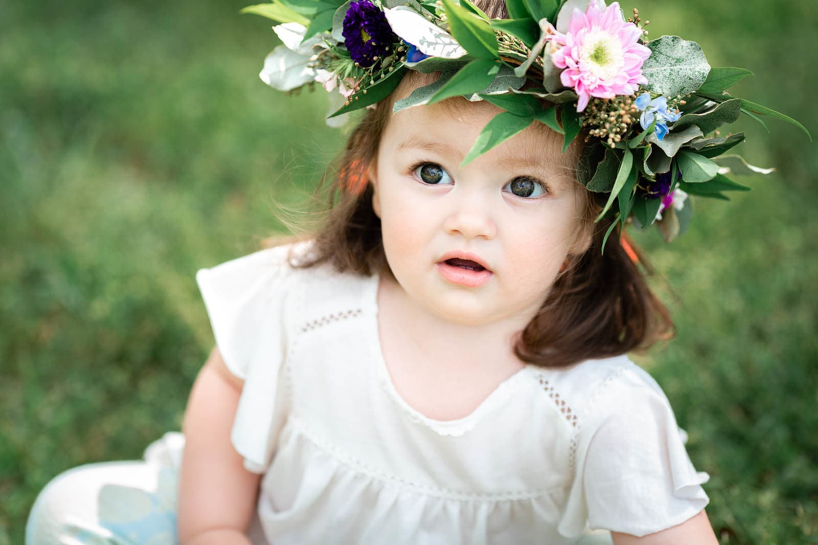 baby girl with flower crown kids photography