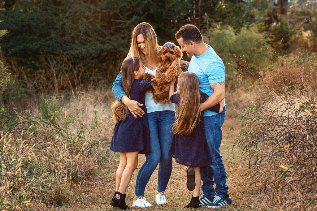 family of 4 portrait with puppy holly springs