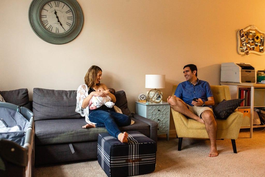 breastfeeding portrait with newborn baby boy