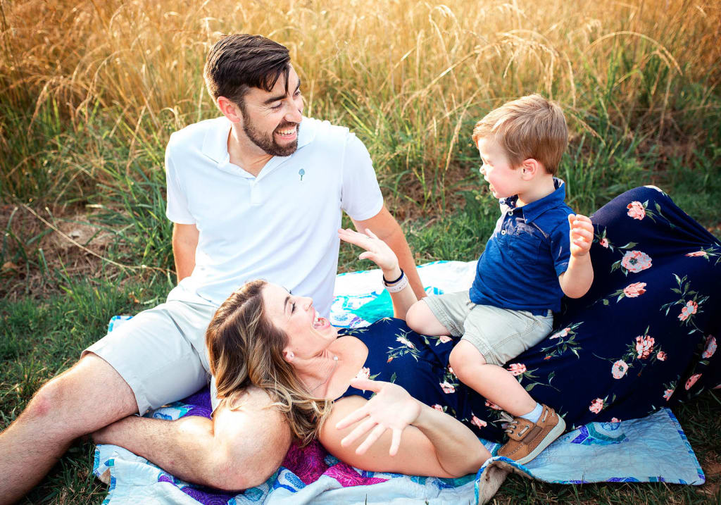 Lifestyle photo session with family of 3 Sugg Farm at Bass Lake Park