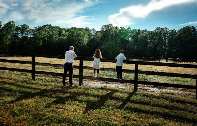 family photo session with a horse apex nc