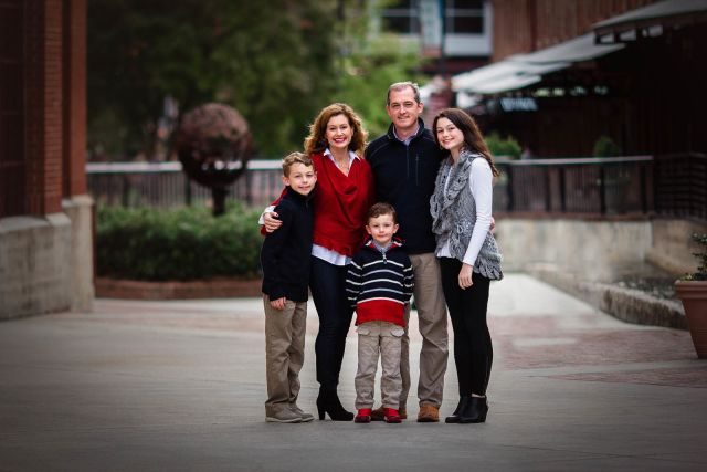 family photo session at American Tobbaco Campus
