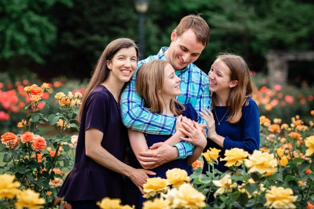 beautiful family session rose garden raleigh nc