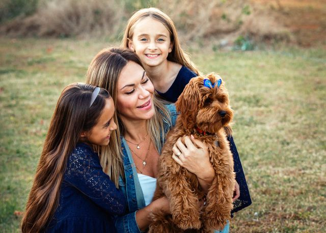 family photo shoot with puppy sugg farm park holly springs