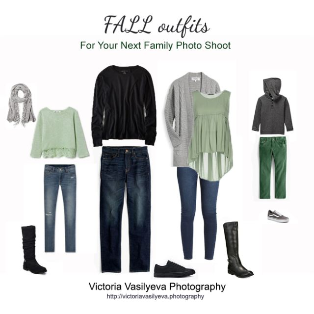 green grey family outfits for fall pictures