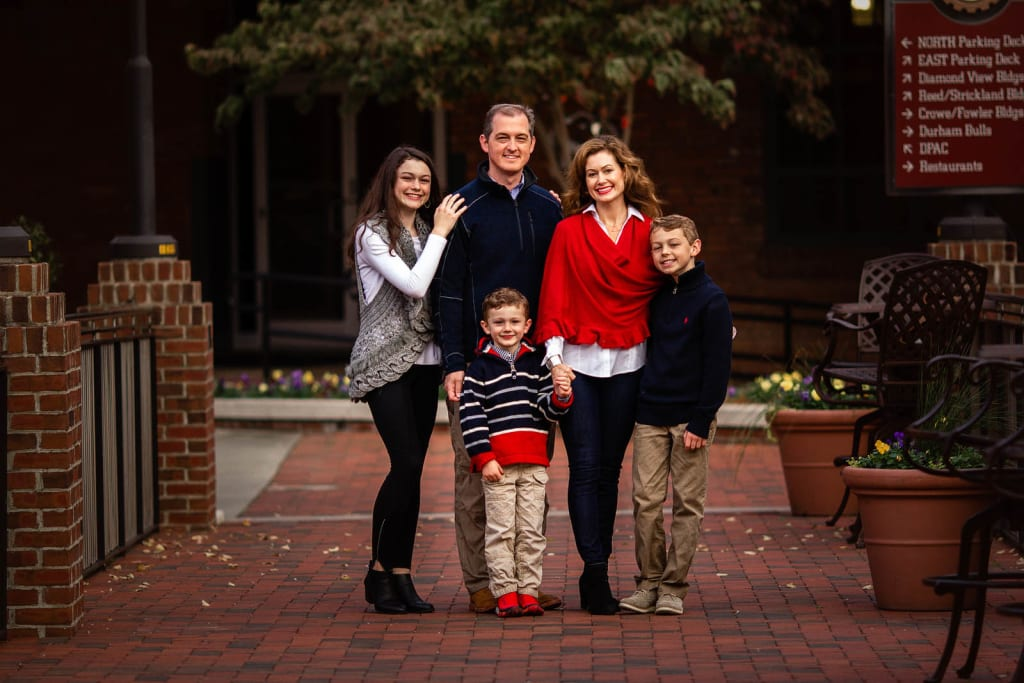 family photo session at American Tobbaco Campus, Durham
