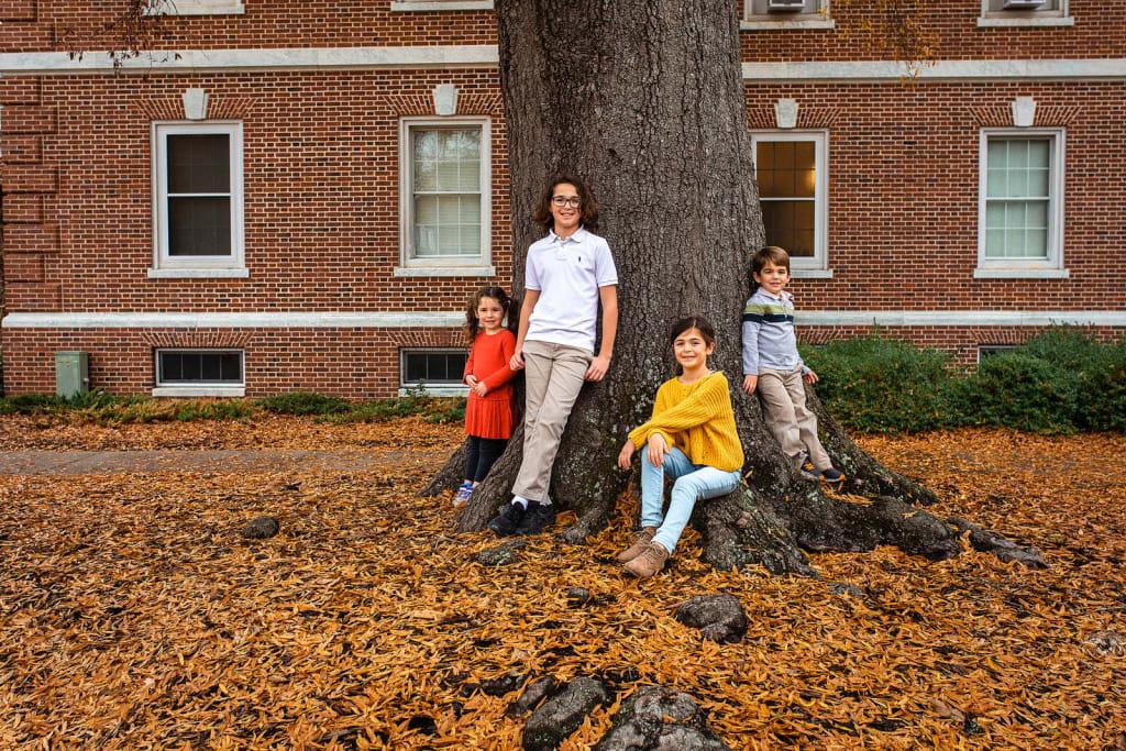 4 siblings portrait near the tree