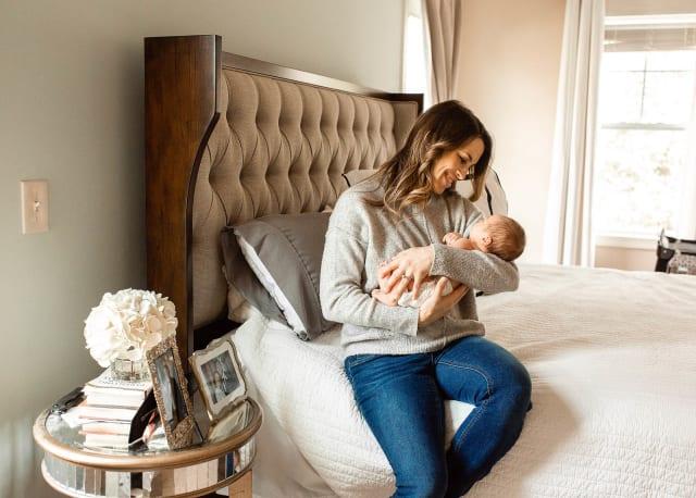 mommy with newborm baby boy raleigh newborn photographer